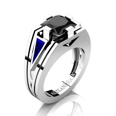 Mens-Modern-950-Platinum-4-0-Carat-Princess-Black-Diamond-Triangle-Blue-Sapphire-Wedding-Ring-A1006M-PLATBSBD-P