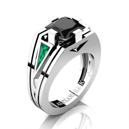 Mens-Modern-950-Platinum-4-0-Carat-Princess-Black-Diamond-Triangle-Emerald-Wedding-Ring-A1006M-PLATEMBD-P