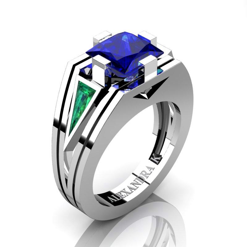 489aab65d Mens Modern 950 Platinum 4.0 Ct Princess Blue Sapphire Triangle ...