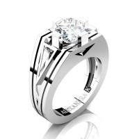 Mens Modern 950 Platinum 4.0 Ct Princess and Triangle White Sapphire Wedding Ring A1006M-PLATWS