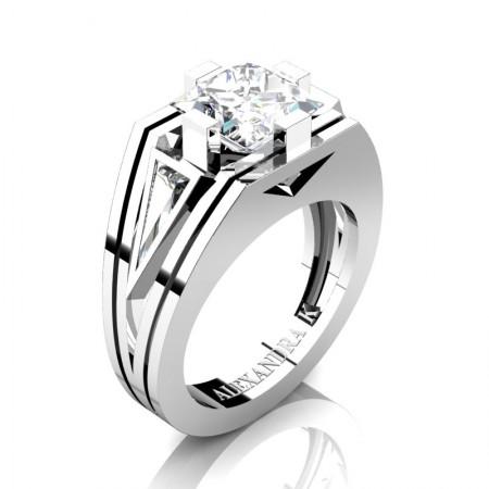 Mens-Modern-950-Platinum-4-0-Carat-Princess-and-Triangle-White-Sapphire-Wedding-Ring-A1006M-PLATWS-P
