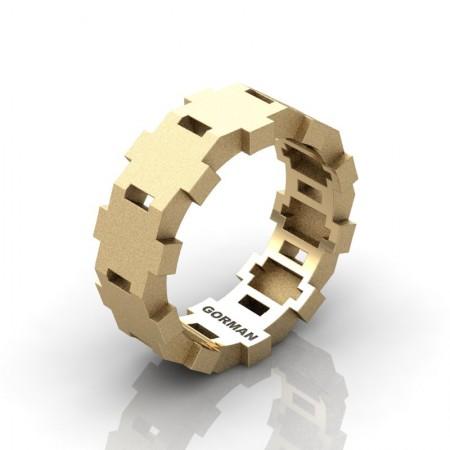 Mens-Modern-Sandblast-14K-Yellow-Gold-Wedding-Band-G1175-14KYGS-P