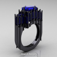 Gothic 14K Black Gold 2.62 Ct Emerald Cut 4.0 Ct Baguette Cut Blue Sapphire Cathedral Ring R424-14KBGBS