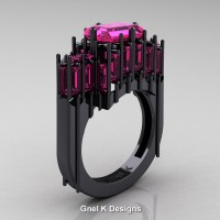 Gothic 14K Black Gold 2.62 Ct Emerald Cut 4.0 Ct Baguette Cut Pink Sapphire Cathedral Ring R424-14KBGPS