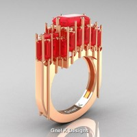Gothic 14K Rose Gold 2.62 Ct Emerald Cut 4.0 Ct Baguette Cut Ruby Cathedral Ring R424-14KRGR