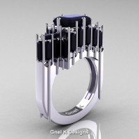 Gothic 14K White Gold 2.62 Ct Emerald Cut 4.0 Ct Baguette Cut Black Diamond Cathedral Ring R424-14KWGBD