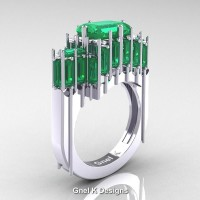 Gothic 14K White Gold 2.62 Ct Emerald Cut 4.0 Ct Baguette Cut Emerald Cathedral Ring R424-14KWGEM
