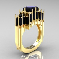 Gothic 14K Yellow Gold 2.62 Ct Emerald Cut 4.0 Ct Baguette Cut Black Diamond Cathedral Ring R424-14KYGBD