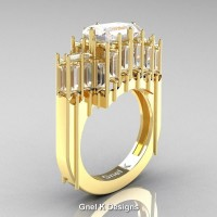 Gothic 14K Yellow Gold 2.62 Ct Emerald Cut 4.0 Ct Baguette Cut White Sapphire Cathedral Ring R424-14KYGWS
