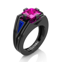 Womens Modern 14K Black Gold 3.0 Ct Princess Pink Sapphire Triangle Blue Sapphire Wedding Ring A1006F-14KBGBSPS