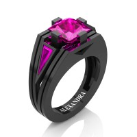 Womens Modern 14K Black Gold 3.0 Ct Princess and Triangle Pink Sapphire Wedding Ring A1006F-14KBGPS