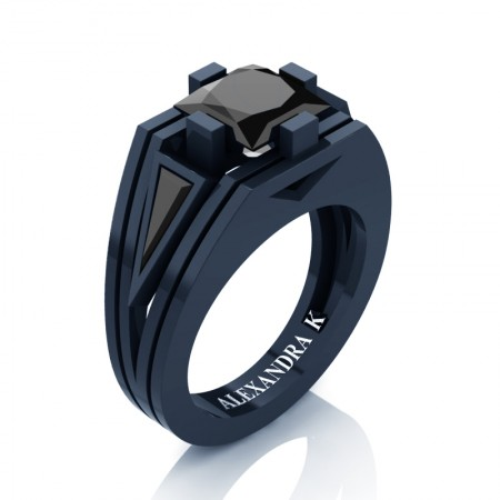 Womens-Modern-14K-Navy-Blue-Gold-3-0-Carat-Princess-and-Triangle-Black-Diamond-Wedding-Ring-A1006F-14KNBGBD-P