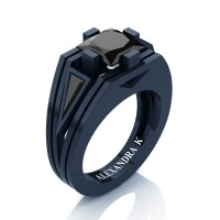 Mens Modern 14K Navy Blue Gold 4.0 Ct Princess and Triangle Black Diamond Wedding Ring A1006M-14KNBGBD