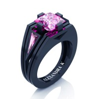 Womens Modern 14K Navy Blue Gold 3.0 Ct Princess and Triangle Light Pink Sapphire Wedding Ring A1006F-14KNBGLPS