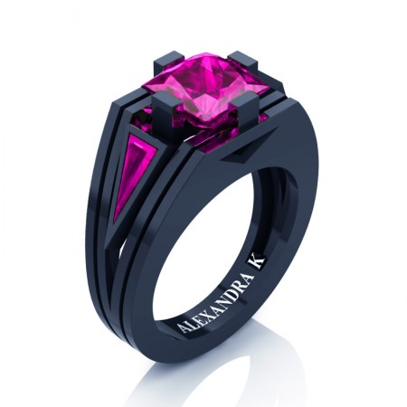 Womens-Modern-14K-Navy-Blue-Gold-3-0-Carat-Princess-and-Triangle-Pink-Sapphire-Wedding-Ring-A1006F-14KNBGPS-P