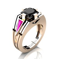 Womens Modern 14K Rose Gold 3.0 Ct Princess Black Diamond Triangle Pink Sapphire Wedding Ring A1006F-14KRGPSBD