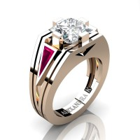 Womens Modern 14K Rose Gold 3.0 Ct Princess White Sapphire Triangle Pink Sapphire Wedding Ring A1006F-14KRGPSWS