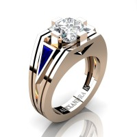 Womens Modern 14K Rose Gold 3.0 Ct Princess White Sapphire Triangle Blue Sapphire Wedding Ring A1006F-14KRGBSWS