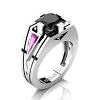 Womens Modern 14K White Gold 3.0 Ct Princess Black Diamond Triangle Light Pink Sapphire Wedding Ring A1006F-14KWGLPSBD