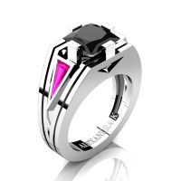 Womens Modern 14K White Gold 3.0 Ct Princess Black Diamond Triangle Pink Sapphire Wedding Ring A1006F-14KWGPSBD