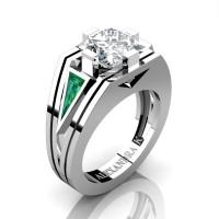 Womens Modern 14K White Gold 3.0 Ct Princess White Sapphire Triangle Emerald Wedding Ring A1006F-14KWGEMWS