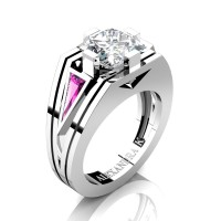Womens Modern 14K White Gold 3.0 Ct Princess White Sapphire Triangle Light Pink Sapphire Wedding Ring A1006F-14KWGLPSWS