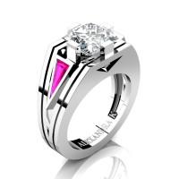 Womens Modern 14K White Gold 3.0 Ct Princess White Sapphire Triangle Pink Sapphire Wedding Ring A1006F-14KWGPSWS
