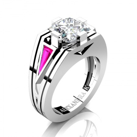 Womens-Modern-14K-White-Gold-3-0-Carat-Princess-White-Sapphie-Triangle-Pink-Sapphire-Wedding-Ring-A1006F-14KWGPSWS-P