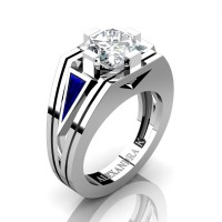 Womens Modern 14K White Gold 3.0 Ct Princess White Sapphire Triangle Blue Sapphire Wedding Ring A1006F-14KWGBSWS