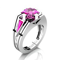Womens Modern 14K White Gold 3.0 Ct Princess and Triangle Pink Sapphire Wedding Ring A1006F-14KWGPS