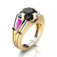 Womens Modern 14K Yellow Gold 3.0 Ct Princess Black Diamond Triangle Pink Sapphire Wedding Ring A1006F-14KYGPSBD