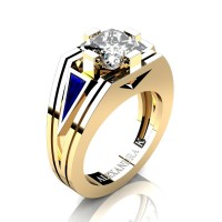 Womens Modern 14K Yellow Gold 3.0 Ct Princess White Sapphire Triangle Blue Sapphire Wedding Ring A1006F-14KYGBSWS