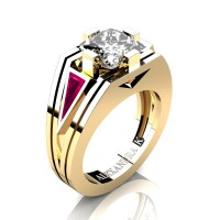 Womens Modern 14K Yellow Gold 3.0 Ct Princess White Sapphire Triangle Pink Sapphire Wedding Ring A1006F-14KYGPSWS