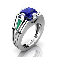 Womens Modern 14K White Gold 3.0 Ct Princess Blue Sapphire Triangle Emerald Wedding Ring A1006F-14KWGEMBS