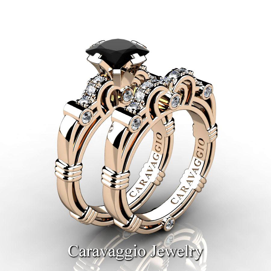 80e44a8b2ae Art Masters Caravaggio 14K Rose Gold 1.25 Ct Princess Black Sapphire Diamond  Engagement Ring Wedding Band