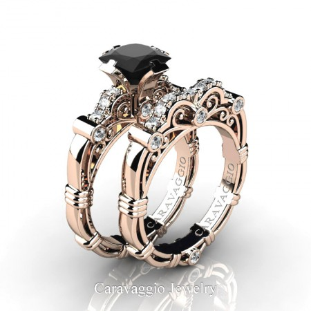 Art-Masters-Caravaggio-14K-Rose-Gold-1-25-Carat-Princess-Black-and-White-Diamond-Engagement-Ring-Wedding-Band-Set-R623PS-14KRGDBD-P