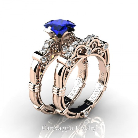 Art-Masters-Caravaggio-14K-Rose-Gold-1-25-Carat-Princess-Blue-Sapphire-Diamond-Engagement-Ring-Wedding-Band-Set-R623PS-14KRGDBS-P