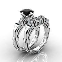 acd2300864d43e Art Masters Caravaggio 14K White Gold 1.25 Ct Princess Black Sapphire  Diamond Engagement Ring Wedding Band