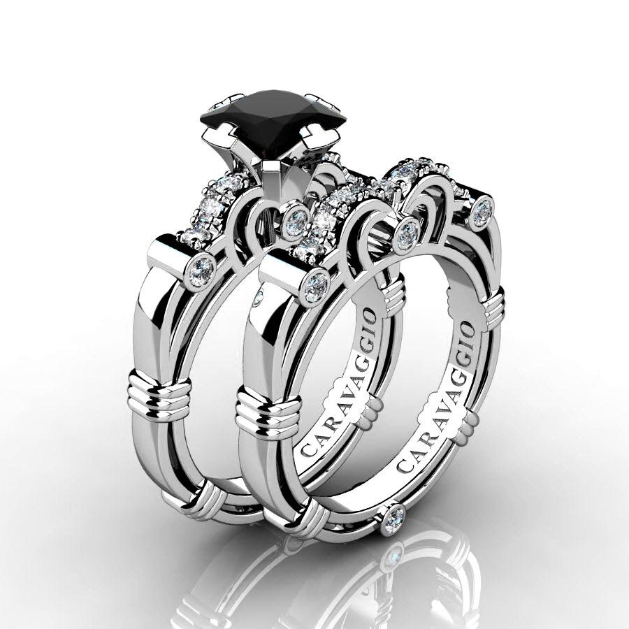 It is a photo of Art Masters Caravaggio 38K White Gold 38.38 Ct Princess Black Sapphire Diamond Engagement Ring Wedding Band Set R38PS-38KWGDBLS