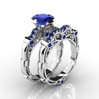 Art Masters Caravaggio 14K White Gold 1.25 Ct Princess Blue Sapphire Engagement Ring Wedding Band Set R623PS-14KWGBS