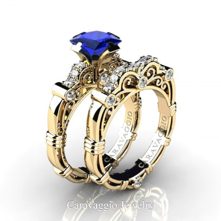 Art Masters Caravaggio 14K Yellow Gold 1.25 Ct Princess Blue Sapphire Diamond Engagement Ring Wedding Band Set R623PS-14KYGDBS