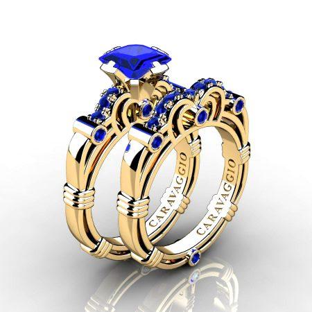 Art-Masters-Caravaggio-14K-Yellow-Gold-1-25-Carat-Princess-Blue-Sapphire-Engagement-Ring-Wedding-Band-Set-R623PS-14KYGBS-P
