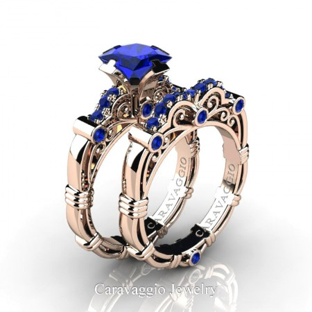 Caravaggio-14K-Rose-Gold-1-25-Carat-Princess-Blue-Sapphire-Engagement-Ring-Wedding-Band-Set-R623PS-14KRGBS-P