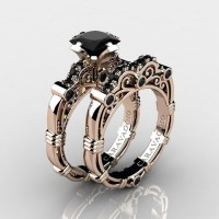 Art Masters Caravaggio 14K Rose Gold 1.25 Ct Princess Black Diamond Engagement Ring Wedding Band Set R623PS-14KRGBD