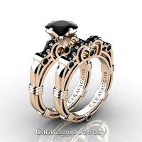 Art Masters Caravaggio 14K Rose Gold 1.25 Ct Princess Black Sapphire Engagement Ring Wedding Band Set R623PS-14KRGBLS
