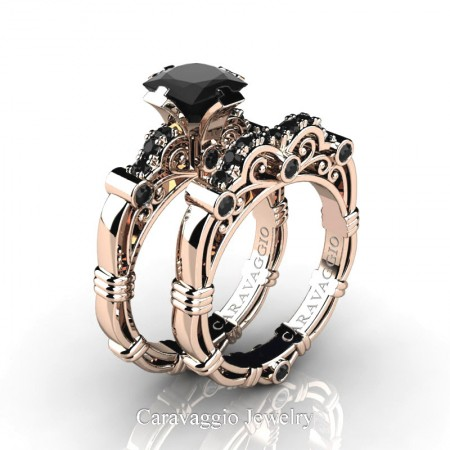 Art Masters Caravaggio 14K Rose Gold 1.25 Ct Princess Black Sapphire Engagement Ring Wedding Band Set R623PS-14KRGBLS