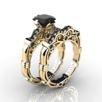 Art Masters Caravaggio 14K Yellow Gold 1.25 Ct Princess Black Sapphire Engagement Ring Wedding Band Set R623PS-14KYGBLS