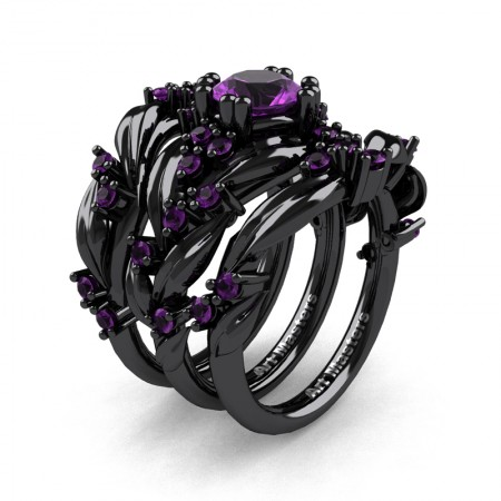 Nature Classic Trio 14K Black Gold 1.0 Ct Amethyst Leaf and Vine Engagement Ring Wedding Band Set R340SG3-14KBGAM