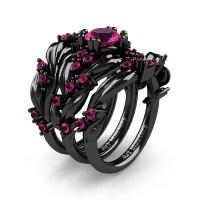 Nature Classic Trio 14K Black Gold 1.0 Ct Pink Sapphire Leaf and Vine Engagement Ring Wedding Band Set R340SG3-14KBGPS