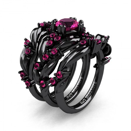 Nature Classic Trio 14K Black Gold 1.0 Ct Pink Sapphire Leaf and Vine Engagement Ring Wedding Band Set R340SG3-14KBGPS